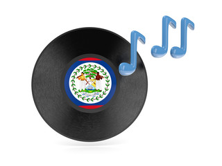 Vinyl disk with flag of belize