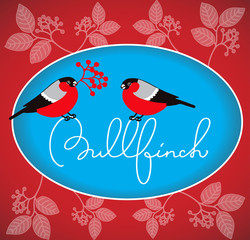 """Bullfinch"" lettering with birds"