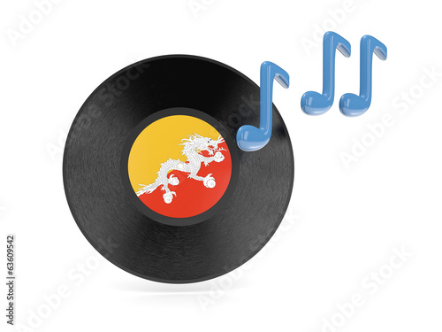 Vinyl disk with flag of bhutan