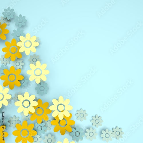 Light blue pastel background with flowers and copy-space