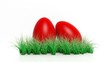 canvas print picture - Two red painted Easter eggs with green grass isolated