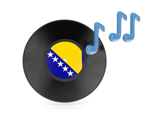 Vinyl disk with flag of bosnia and herzegovina