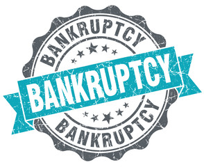 Bankruptcy blue grunge retro style isolated seal