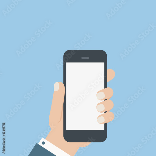 flat blank phone hold in hand
