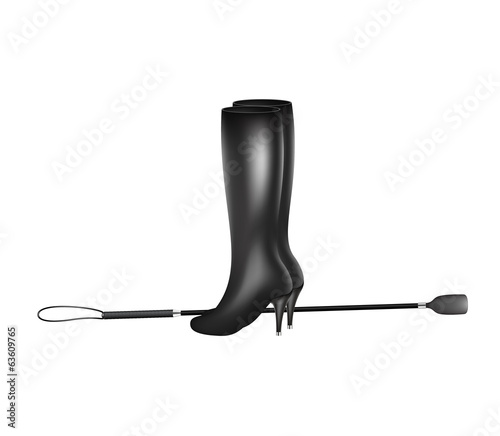 Riding crop and high heels leather boots