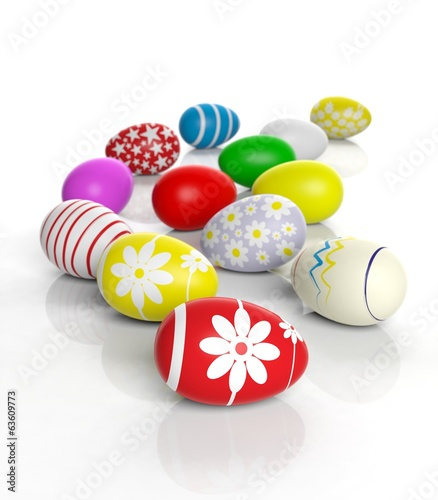 Various colored Easter eggs isolated on white