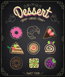 Sweet dessert set on a blackboard. Dessert Menu