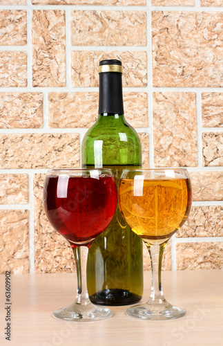 Wineglass on stone background