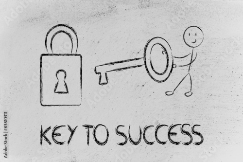 find the key to success, funny character with key and lock