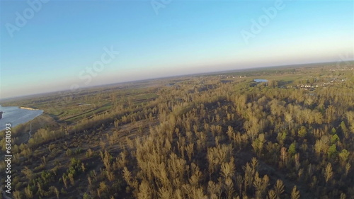 Morning quiet river  with sun.  Aerial  panorama view