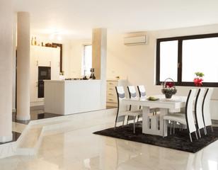 Modern living room with huge windows