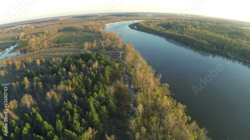 Morning quiet river  with  forest   Aerial   view