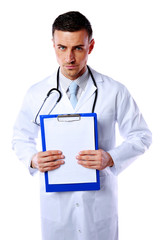 Male doctor holding empty clipboard isolated on white background