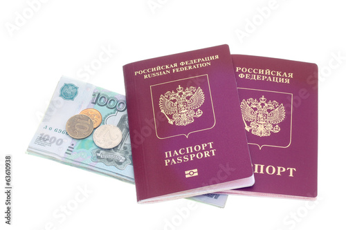 Passports and money on a white background