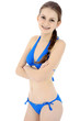Schlanker Teenager in blauem Bikini