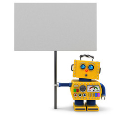 Yellow robot with sign