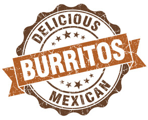 Delicious burritos brown grunge retro vintage isolated seal