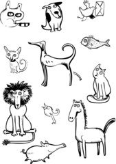 Set of funny animals