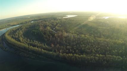 Beautiful panorama of  morning river and wood. Aerial