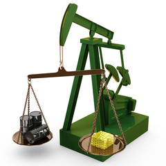 Oil rig pump as scales with oil barrels and gold bricks, 3d