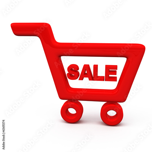 Sale concept. Red shopping cart icon, 3d