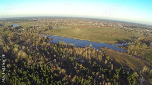 Beautiful panorama of  morning river and wood. Aerial