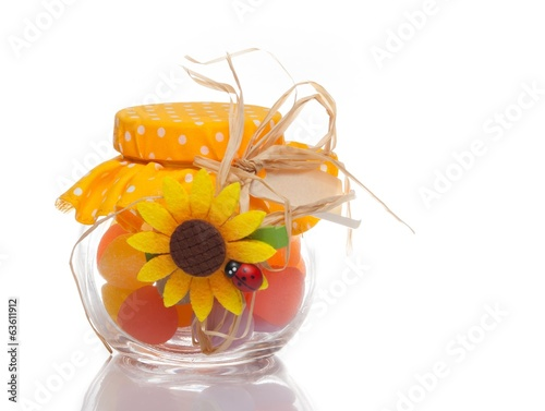 colourful candy in a decorative glass jar for a festive gift