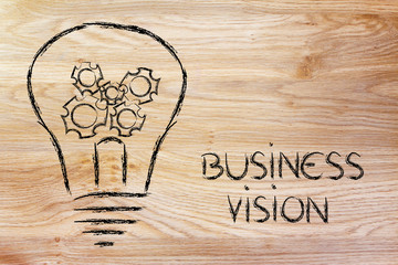 business vision, lightbulb with gearwheels