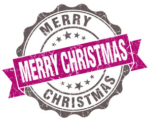 Merry christmas violet grunge retro vintage isolated seal