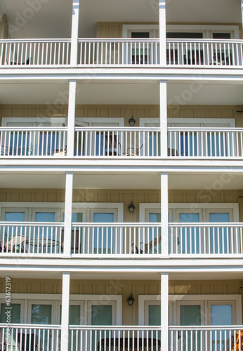 Four Balconies with White Railings