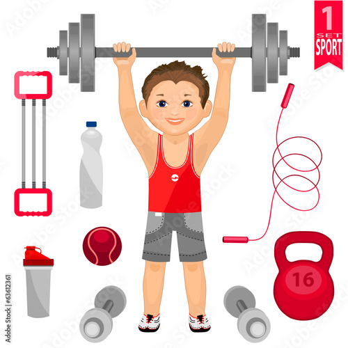 Young man with  barbell and  set of sports equipment