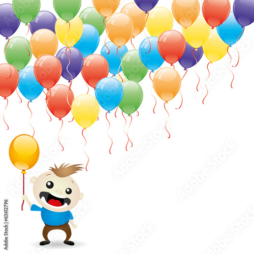 Balloons and happy child.