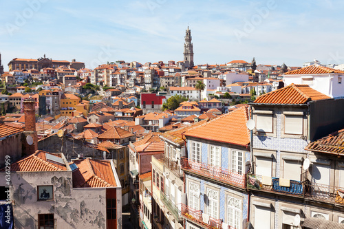 View of city of Porto: houses and church Klerigush