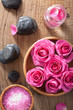 rose flowers, salt and spa stones