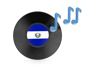 Vinyl disk with flag of el salvador