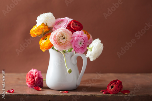 beautiful ranunculus bouquet in vase