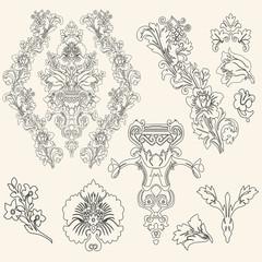 Ornate set vintage elements
