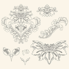 Ornate set vintage elements