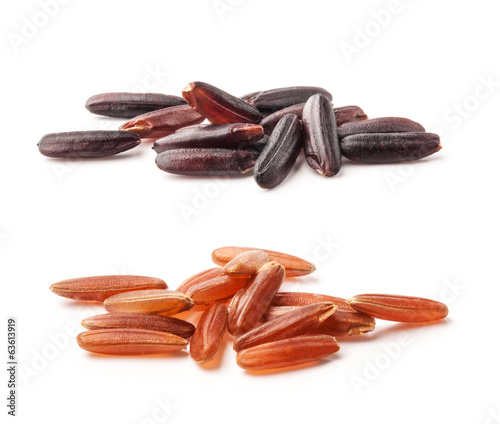 Red and black rice on white background