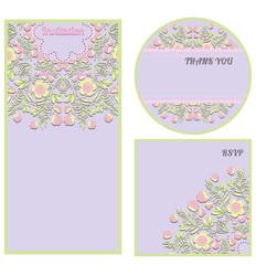 Set of floral invitation cards in gentle tones.