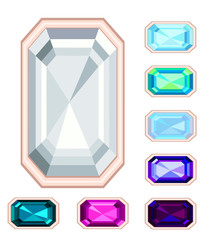 rectangle gemstone set. EPS10, no gradient, no transparency