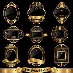 Gold framed labels set 6