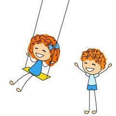 Cute little kids with swing