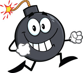 Smiling Bomb Cartoon Character Running