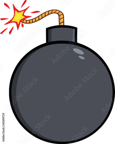 Cartoon Bomb With Lit Fuse. Illustration Isolated on white