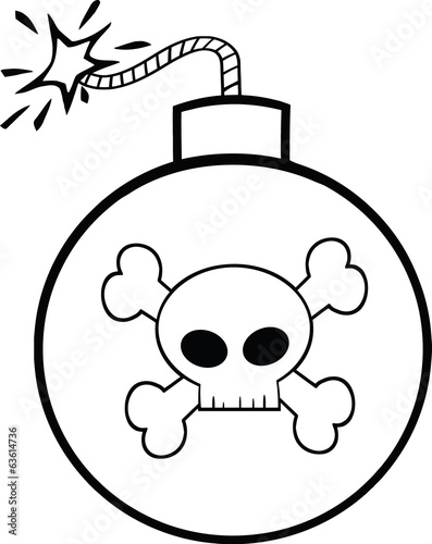 Black and White Cartoon Bomb With Skull And Crossbones