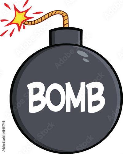 Cartoon Bomb With Text. Illustration Isolated on white