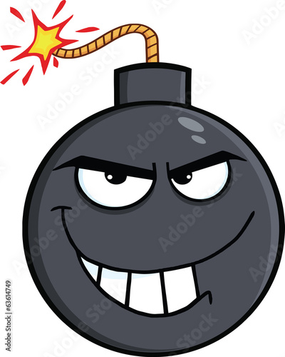 Evil Bomb Cartoon Character. Illustration Isolated on white