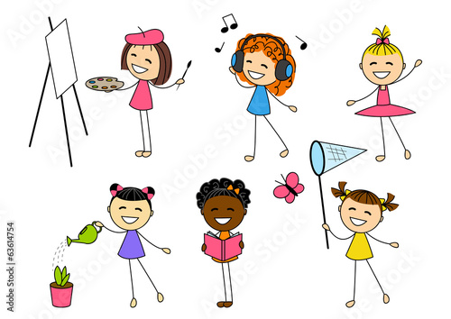 Set of little girls with different hobby
