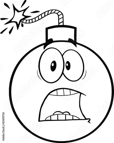 Black and White Scared Bomb Cartoon Character